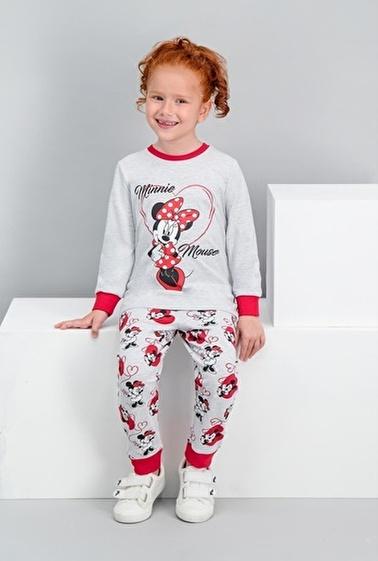 Minnie Mouse Minnie Mouse Lisanslı Açık Kırmızı Kız Çocuk Pijama Takımı Gri